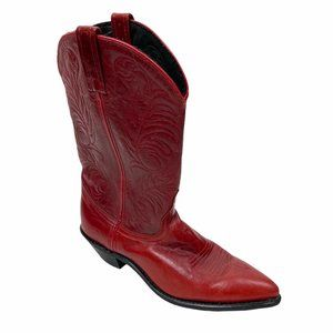 Vintage Red Leather Acme Cowgirl Boots Size 9